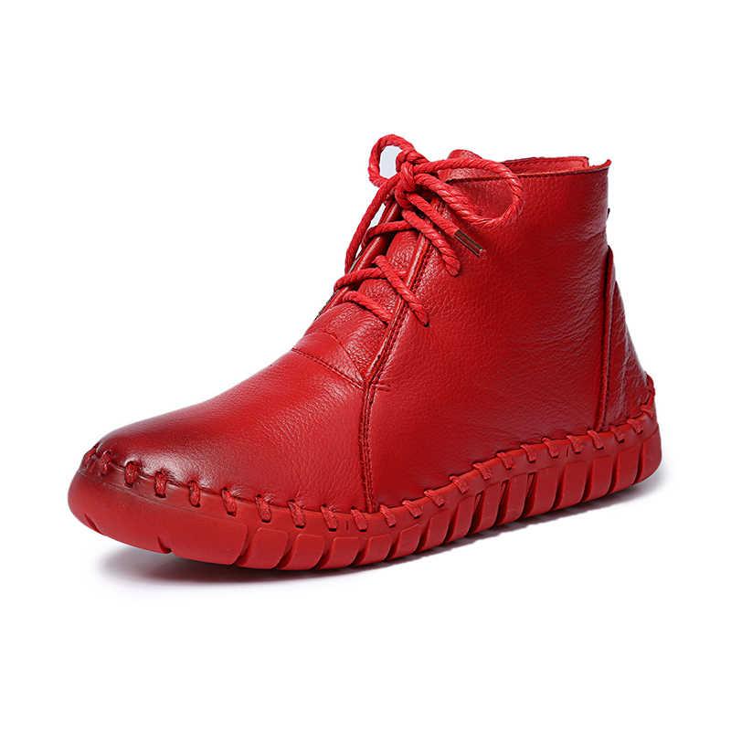 Hakiki Deri Bayan Botları 2018 Ilkbahar Sonbahar Moda Pileli yarım çizmeler Sıcak Yumuşak Açık Rahat düz ayakkabı ayakkabı kadın