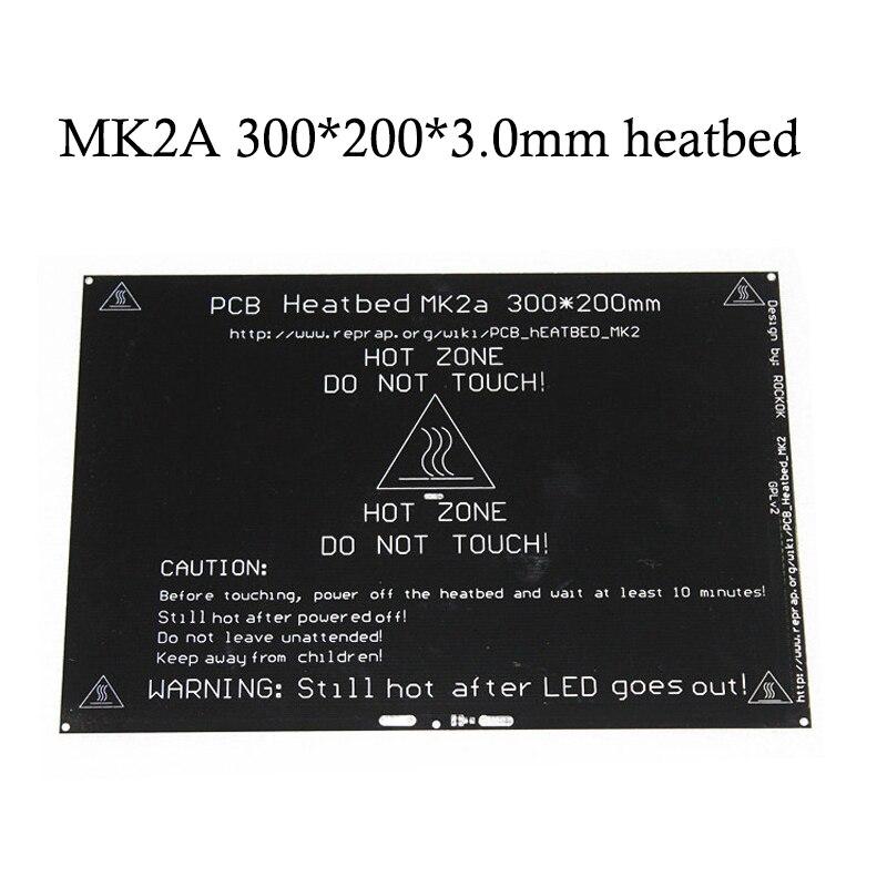 12 V/24 V RepRap MK2A 300*200*3,0mm Heatbed rampas 1,4 PCB de aluminio foco caliente cama para MK2a 3D piezas de la impresora en guía lineal