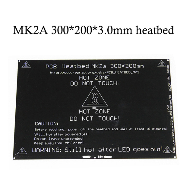 12V/24V RepRap MK2A 300*200*3.0mm Heatbed Ramps 1.4 PCB Aluminum Hotbed Heated Bed For MK2a 3D Printer Parts on Linear guide