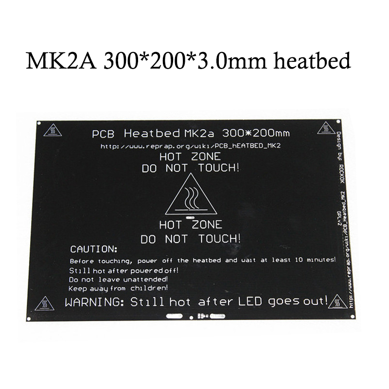 12V/<font><b>24V</b></font> RepRap MK2A 300*200*3.0mm <font><b>Heatbed</b></font> Ramps 1.4 PCB Aluminum Hotbed Heated Bed For MK2a 3D Printer Parts on Linear guide image