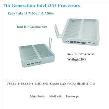 HRF Freeshipping Intel Core i5 7200U/i3 7100U 7th Gen Kaby Lake Win10 Fanless Mini PC 4K HTPC Fanless Nuc Intel HD Graphics 620