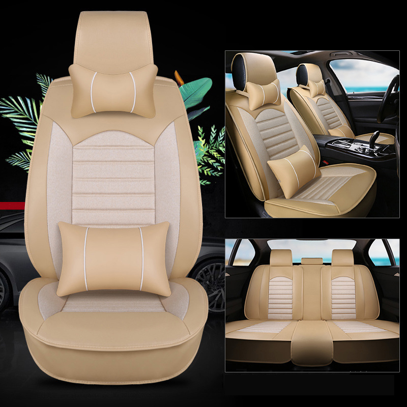 kalaisike Leather plus Flax Universal Car Seat covers for Peugeot all models 206 307 407 207 508 308 406 301 607 208 2008 3008 2pcs for peugeot 106 3d 1007 207 307 308 3008 406 407 508 607 18smd car led license plate light lamp oem replace automotive led