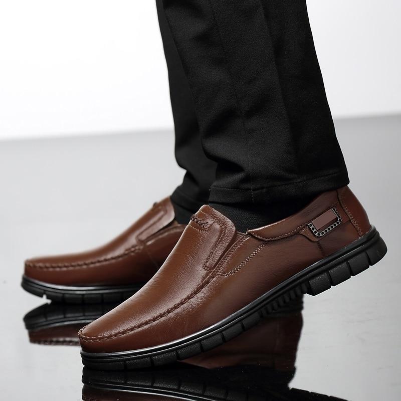 Hommes En Grande Homme Chaussures Taille Travail Jeunesse Solide Et Plate forme Slip on Cuir Véritable Mocassins Respirant Noir De Black Conduite Pour brown qSzVUMp
