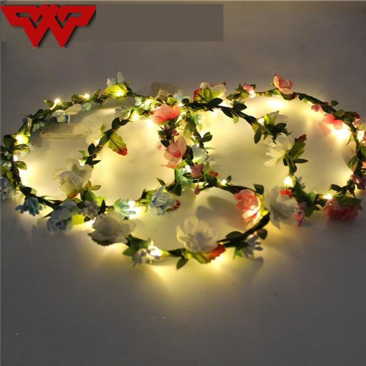 Fine 2018 New Women Girl Glowing Leds Flowers Headband Garland Flashing Floral Headwear Headdress Halloween Glow Party Supplies Festive & Party Supplies Glow Party Supplies