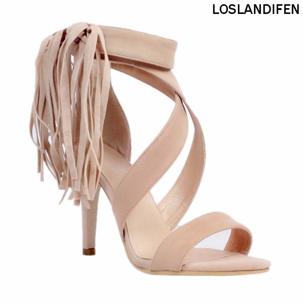 المرأة الأزياء اليدوية 10 سنتيمتر شرابة الكاحل التفاف أحذية عالية الكعب الصيف الصنادل XD021