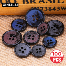 100pcs Resin Wooden Buttons Distressed Color Round 4 Holes Sewing Scrapbooking DIY Clothes Plus Size