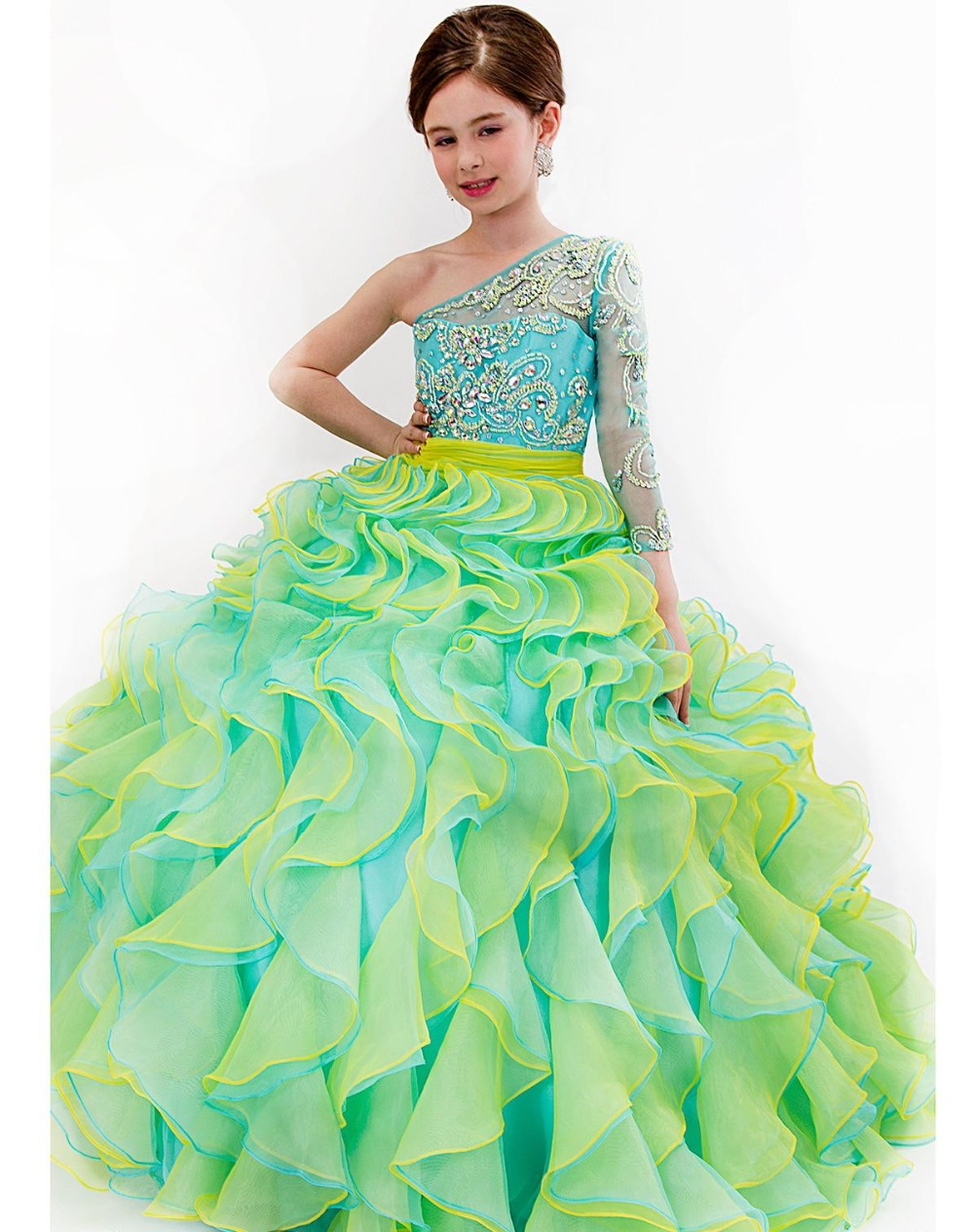 Bal gowns for kids reviews online shopping bal gowns for kids princess kids ruffled pageant dress one shoulder sweetheart little girl bridesmaid dresses with long sleeve robe de bal fille ombrellifo Image collections