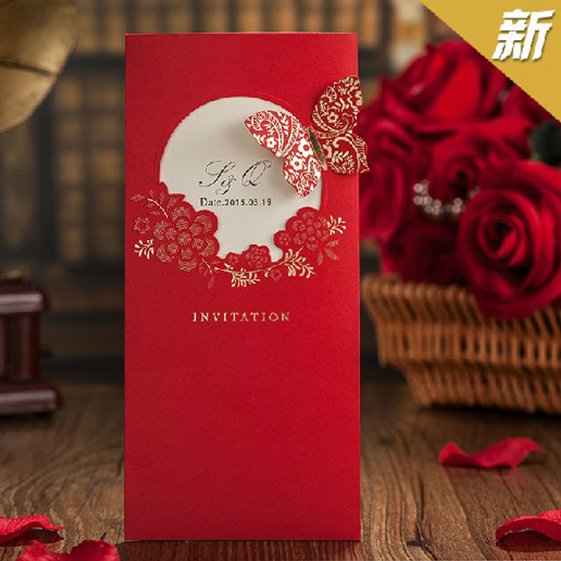 Festa 2017 New Elegent Red Erfly Chinese Style Wedding Invitation Cards Laser Cut Favors Enement Gatefold Invites In Invitations From