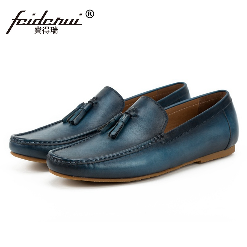 New Arrival Comfortable Round Toe Slip on Man Shoes Genuine Leather Moccasin Casual Loafers Handmade Men's Driving Flats SS112 new vintage handmade round toe man comfortable casual shoes genuin leather slip on formal designer men s moccasin loafers js49