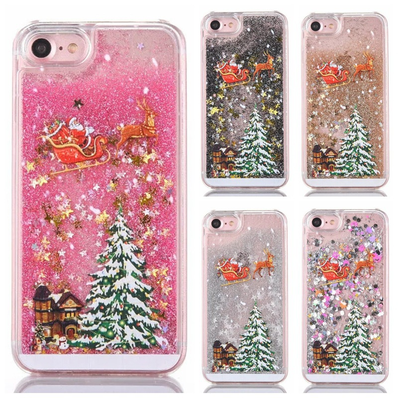 Christmas Tree Phone Iphone 5 5S SE 6 6S 7 8 Plus X XS Glitter Liquid Quicksand Transparent Mobile Bag Cover