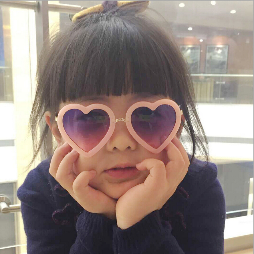 2016 High Quality Children Baby Decorative Gradient Lens Heart Sunglasses Kids Girls Sun Glasses 100% Uv400 Protection