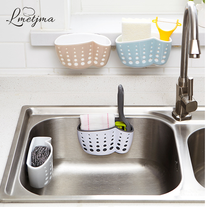 LMETJMA Kitchen Sponge Holder With A Sponge Suction Cup Bathroom Sucker Holder Sink Soap Sponge Drain Rack Storage Holder KC0001