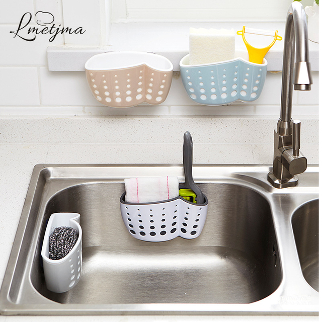 Lmetjma Kitchen Sponge Holder With A Suction Cup Bathroom Er Sink Soap Drain Rack Storage Kc0001
