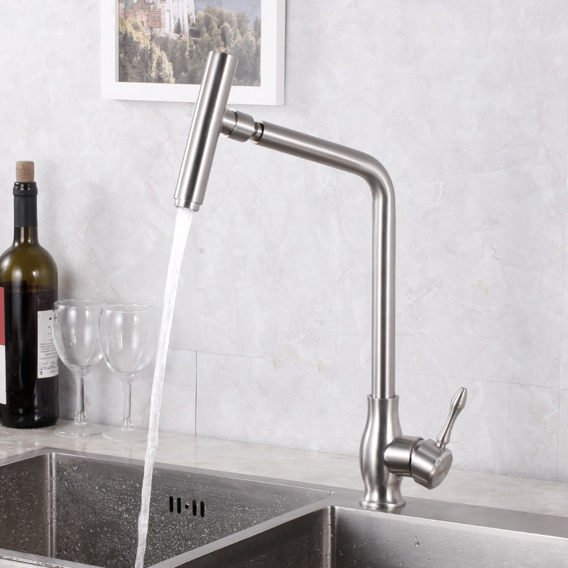 Kitchen Faucets Hot and Cold Stainless Steel Brushed Sink Faucet Single Handle Deck Mounted Flexible Mixer Tap