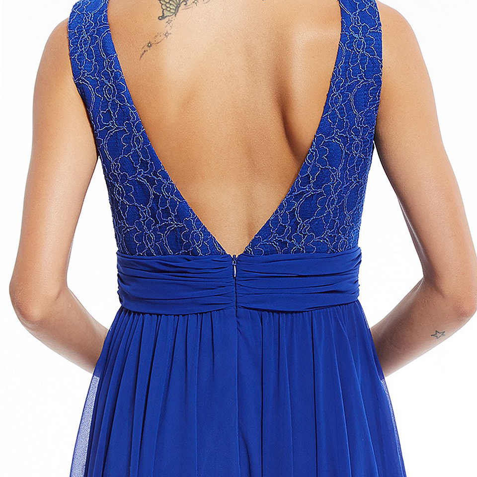 Dressv الملكي الأزرق الخامس الرقبة فستان سهرة طويل بلا أكمام رخيصة الديكور يزين حفل الزفاف فستان رسمي خط فساتين السهرة
