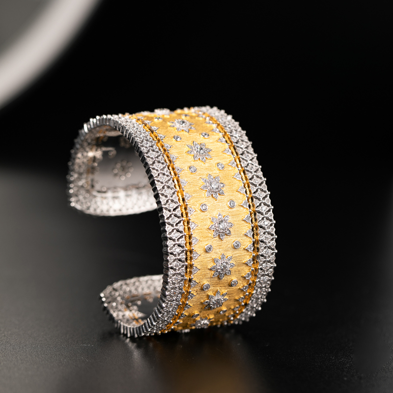 925 Silver Zircon Bracelet Silver Bars 925 Jewelry for Women European Court Style Retro Style