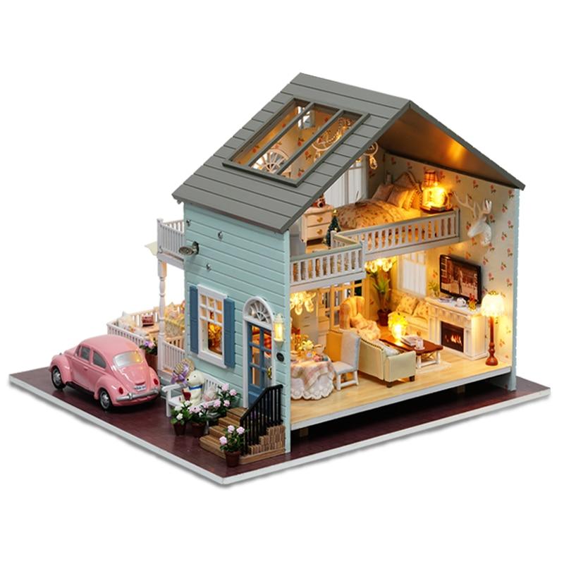 Cutebee DIY Casa miniatura con muebles LED música polvo cubierta modelo bloques De construcción juguetes para niños Casa De Boneca - 2