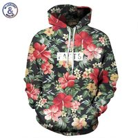 Autumn Winter Fashion Men Women Hoodies With Cap Print Red Flowers Green Leaves Sports 3d Hooded