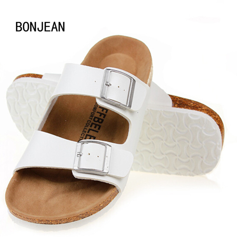 Women Slippers Sandals Cork Shoes Summer Beach Sandals Fashion Lovers Mixed Color Shoes Buckle Slides Plus Size 35-42 new 2016 fashion men slippers mixed color summer beach sandals lovers buckle slides cork shoes slides plus size 11 color