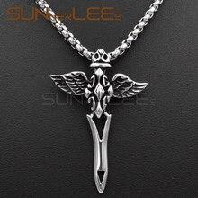 SUNNERLEES модные ювелирные изделия из нержавеющей стали подвеска ожерелье звеньевая цепь панк Иисус крест крылья для мужчин женщин SP19