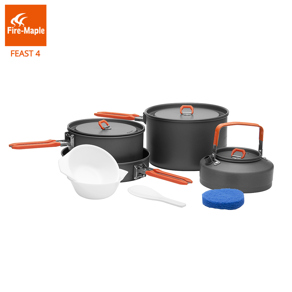 Fire Maple Feast4 Outdoor Camping Hiking Cookware Backpacking Cooking Picnic 2 Pots 1 Frypan 1 Kettle Set Foldable Handle FMC-F4 fire maple pots set outdoor camping foldable cooking cookware aluminum alloy for 2 3 persons fmc 208