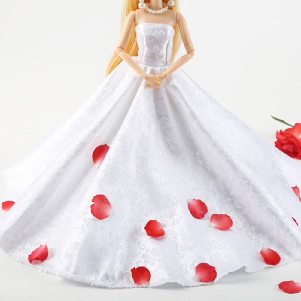 Toyzhijia New Super Luxurious Doll Wedding Gown Accessories For Barbie Dolls Baby Gift Red White Princess Party Dress: Wedding Dress With Red Accesories At Websimilar.org