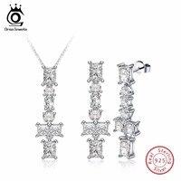 ORSA JEWELS Genuine 925 Sterling Silver Jewelry Sets For Female Cross Shape AAA Cubic Zircon Women