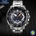 Nuevo deporte de los hombres relojes de cuarzo relojes de marca guanqin multifuncional resistente al agua cronógrafo relojes militares deportes reloj de pulsera