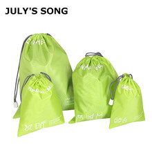 JULY'S SONG 4pcs/set Nylon Waterproof Drawstring Bag Solid Travel Pouch Makeup Organizers Shoes Clothes Storage Bag