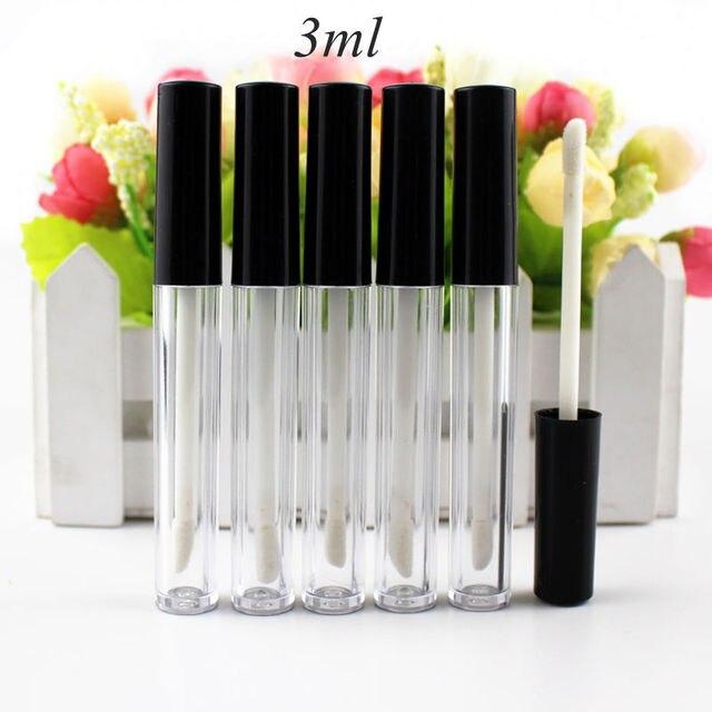 גבוהה באיכות 50 יח\חבילה 3ml 0.8ml פלסטיק גלוס צינור שפתון קטן צינור עם Leakproof פנימי מדגם קוסמטי מיכל DIY