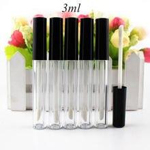 Tubo de brillo de labios de plástico, tubo de lápiz labial pequeño con contenedor de muestra de cosmético interior a prueba de fugas, 3ml, 0,8 ml, 50 unidades por lote
