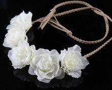 Cheaper wreath Women's headband Bohemian beige Floral flower crown for Party Wedding Hair Wreaths Hair Bands flower headband