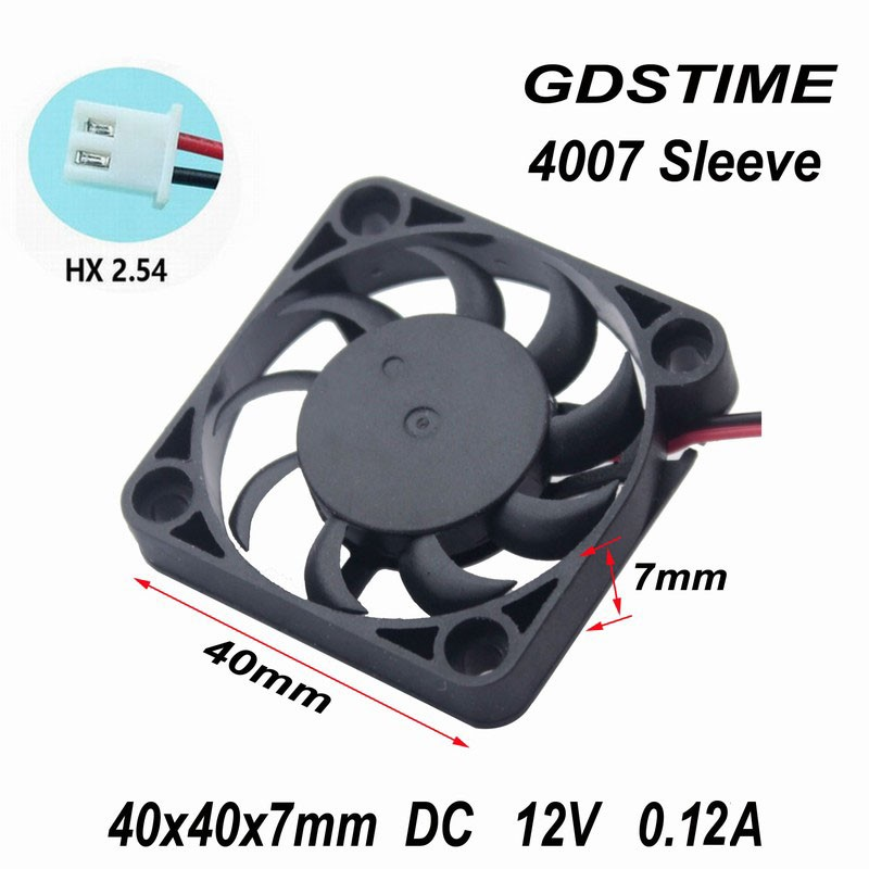 Gdstime 5 Pieces New 4007 <font><b>40MM</b></font> 4CM <font><b>fan</b></font> 40*40*7mm 0.12A 12V The graphics card <font><b>fan</b></font> Cooling <font><b>fan</b></font> laptop miniature <font><b>quiet</b></font> <font><b>fan</b></font> image
