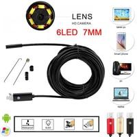 2IN1 Android Endoscope 7MM Lens 2M 5M 10M HD Micro USB Android Endoscopio Camera IP67 Borescope