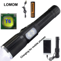 LOMOM 10W 18650 Tactical Powerful Led Flashlight For Bike USB Set Cree XM-L T6 Lumens Flashlights Warning Lights Lamp Torche