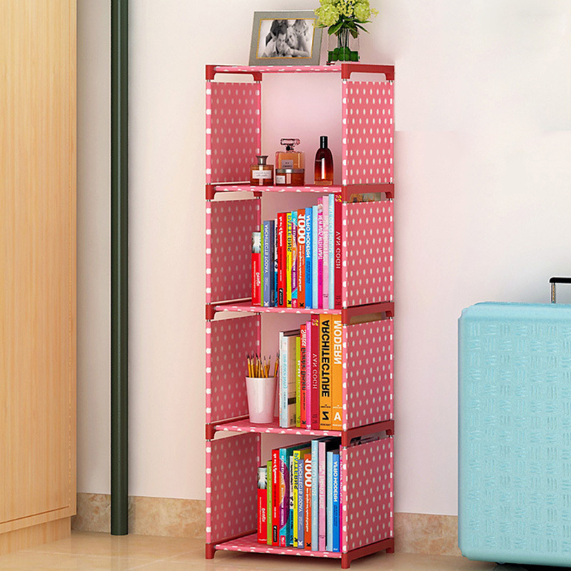 Simple 4 grid Bookshelf non woven Steel pipe structure Easy assembly ...