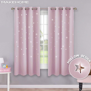 Image 1 - MAKEHOME Hollow Stars Blackout Curtains for Kids Bedroom Living Room Three Layers Fabrics Window Curtains Home Decor Stars Tulle