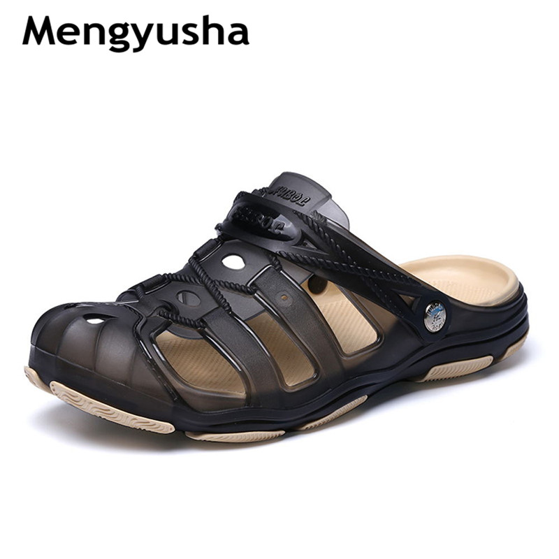 Summer hole shoes Baotou sandals and slippers men hole shoes sandals flat anti-skid jelly thick bottom beach shoes