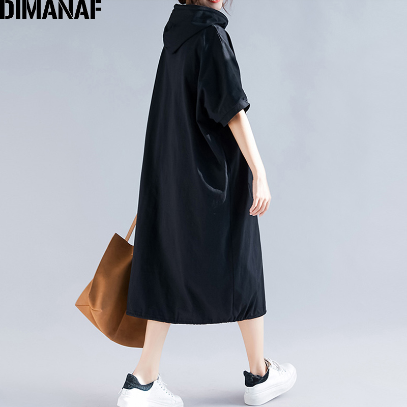 Image 5 - DIMANAF Plus Size Women Dress Summer Cotton Hooded Lady Vestidos Female Clothing Casual Loose Big Size Long Dress Solid 5XL 6XL-in Dresses from Women's Clothing