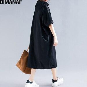 Image 5 - DIMANAF בתוספת גודל נשים שמלת קיץ כותנה סלעית ליידי Vestidos נשי בגדים מזדמן רופף גדול גודל ארוך שמלת מוצק 5XL 6XL
