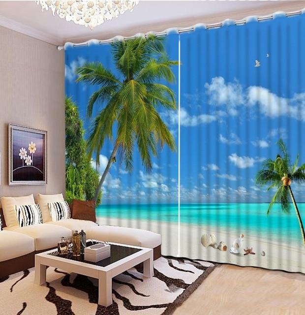 Modern Decor Window Curtain 3D Bedroom Curtains Shell Beach Blackout Landscape Home