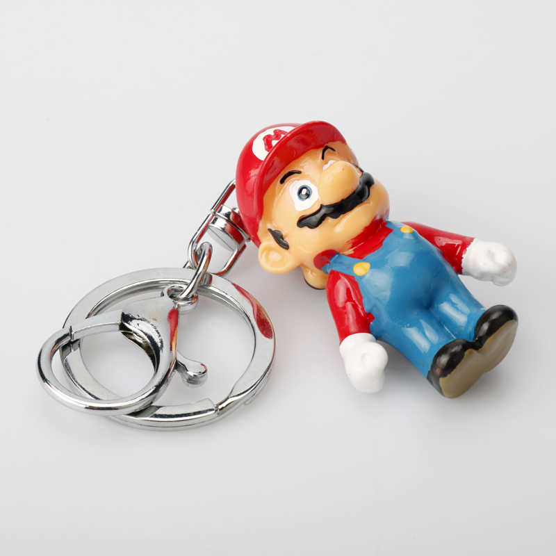 Jogo Super Mario Bro Luigi Figuras Dos Desenhos Animados Chaveiro Chaveiro Resina Nario 3D Chaveiro Mini Toy Kids Key Holder Trinket- 50