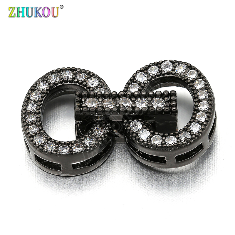 11*19mm Brass Cubic Zirconia Clasps Hooks For Diy Jewelry Findings Accessories, Mixed Color, Model: VK36