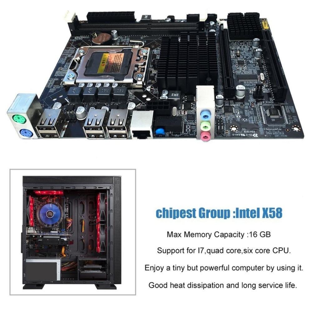 Bureau Carte Mère Ordinateur Carte Mère Pour X58 LGA 1366 DDR3 16 gb Soutien ECC RAM Pour Quad-Core Six- core Aiguille 8PIN