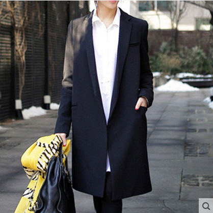 2016 Осень новый Женский длинное пальто черный Маленький костюм свободно блейзер тонкий пиджак женские Пиджаки повседневная OL тонкий плюс размер верхняя одежда