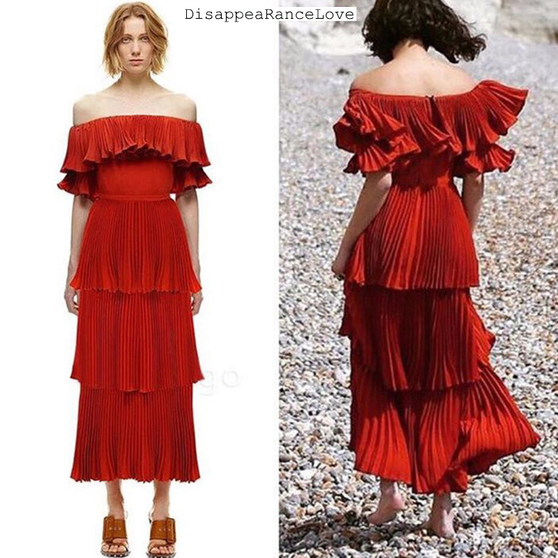 Sexy dresses 2018 offer shoulder slash neck red long women dress Summer Party Dress Flounce Elegant Empire Club Dress