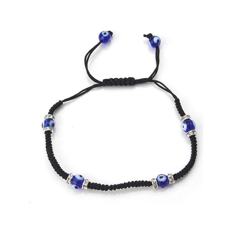 1 шт. бисер, от сглаза браслет черный браслет-веревочка оплетки нить шнуровка браслет для Для мужчин Для женщин Модные украшения браслет Evil Eye