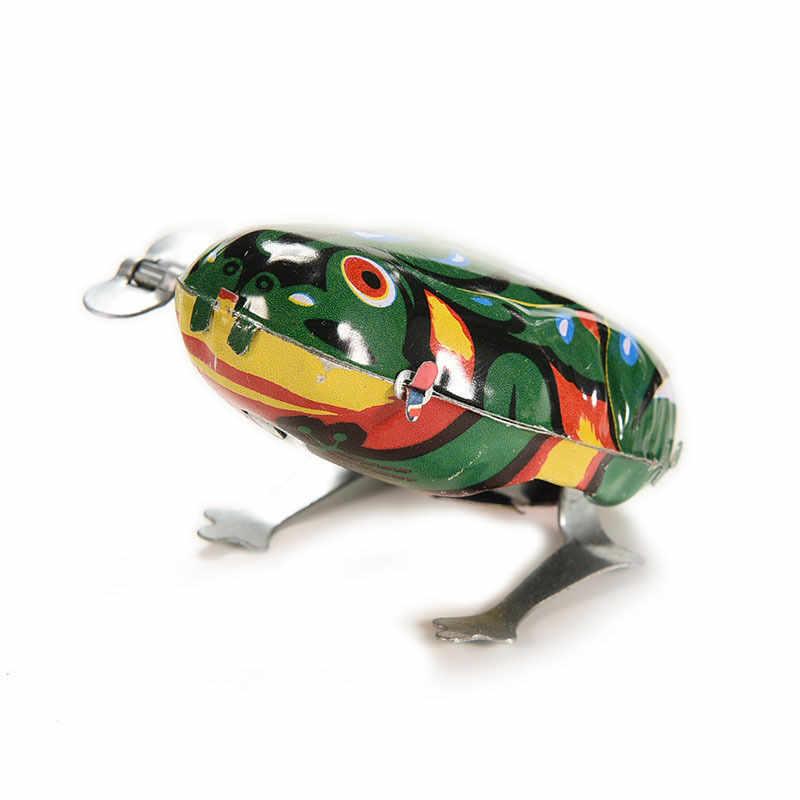 NEW Vintage Kim Loại Wind-up Nhảy cho Frog Mô Hình Clockwork Tin Đồ Chơi Sưu Tập Cổ Điển Giáo Dục Đồ Chơi Quà Tặng Cho Trẻ Em