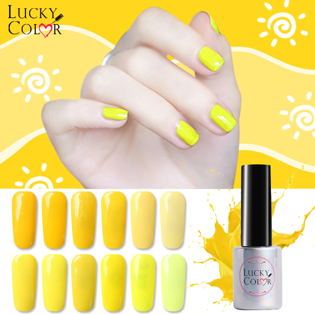 12 Colors Pure Yellow Gel Nail Polish High Quality Long Lasting Soak Off Uv Led