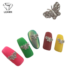 LEAMX 10Pcs Butterfly Nail Jewelry Glitter Rhinestone Nails Art 3D Crystal Nail Art Decrotions Nails Charms For ManicureL377 10pcs 3d nail jewelry decoration nails art glitter rhinestone for manicure green rose design nail accessories tools